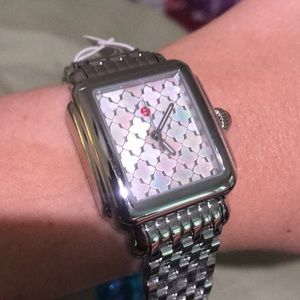 Michele mother of pearl deco watch